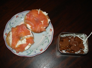 smoked salmon and gingerbread--not perfect together, but lovely on their own!